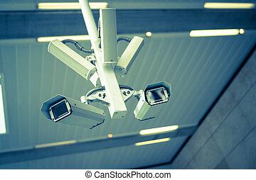 Farringdon CCTV blue - A CCTV camera in a north London...