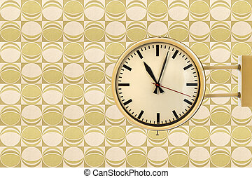 Seventies vintage office clock against a retro wallpaper...