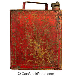 Vintage red fuel can isolated on white