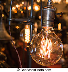 vintage electric carbon light, amber bulb Filament - vintage...