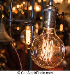 vintage electric carbon light, amber bulb Filament - vintage...
