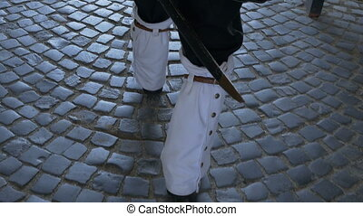 Soldier with Leggings Walks - XVIII century guard soldier...