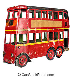 Vintage London bus toy isolated on white - Vintage red...