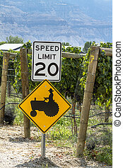 Colorful Wine Grapes on Grapevine - Farmer crossing sign...