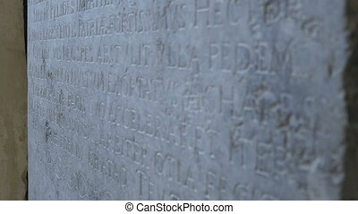 Latin Language Stone Inscription - Shifting focus along an...