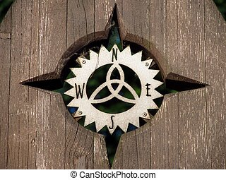 compass rose - close photo of nice wooden compass rose