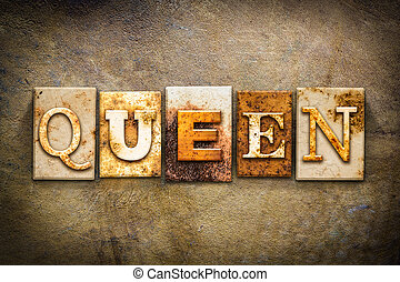 Queen Concept Letterpress Leather Theme - The word QUEEN...