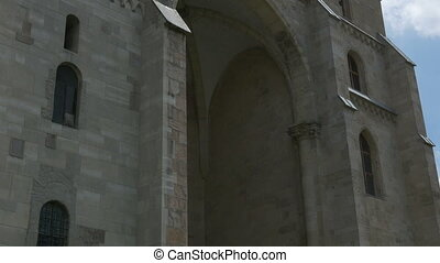 Medieval Roman Catholic Cathedral - Tilt shot of the St....
