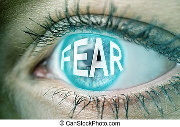 eye with blue text FEAR
