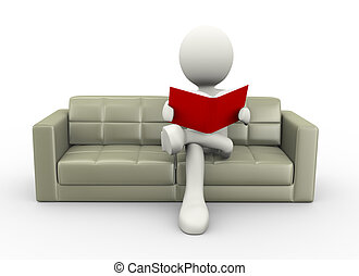 3d man reading book on couch