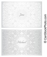 Festive wedding name card with floral ornament pattern