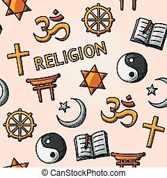 World religion hand drawn seamless pattern - christian, Jewish, Islam, Buddhism, Hinduism, Taoism, Shinto, and book as symbol of doctrine.