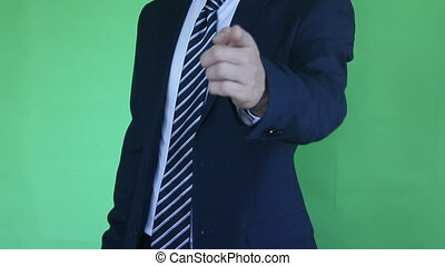 businessman showing you green screen