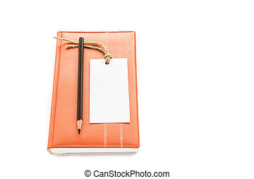 Notebook,pencil and white card on white background -...