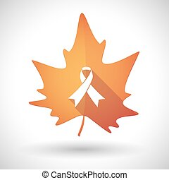 Autumn leaf icon with an awareness ribbon