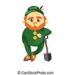Leprechaun with a shovel - Leprechaun in the green suit...
