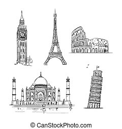 Hand drawn world landmark set.