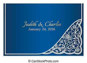 Blue wedding announcement with white floral lace decoration