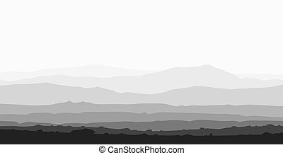 Landscape with huge mountain range Black and white vector...