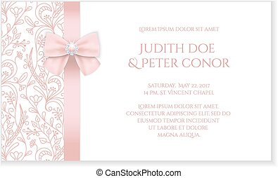 Romantic wedding announcement with pink floral ornament