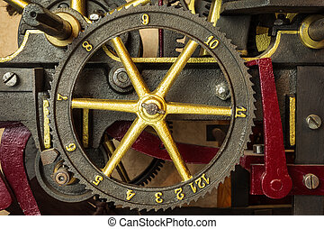 Gearwheels of a vintage church clock - Gearwheels of a...