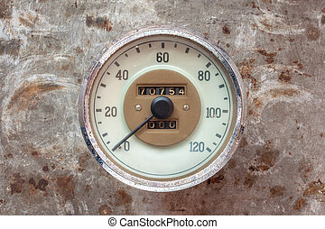 Vintage car speedometer on a rusty background - Vintage car...