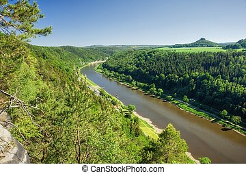 Elbe canyon flowing through the Czech - Saxon Switzerland