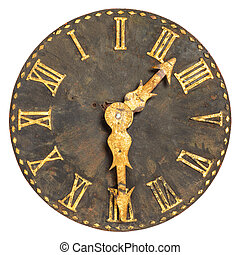 Ancient large church clock face isolated on a white...