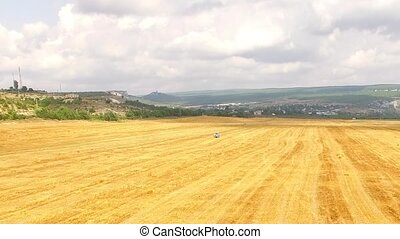 Stubble Wheat Field At Beautiful Hilly Terrain - In the...