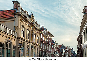 Cityscape of the Dutch historic town Hoorn during sunset