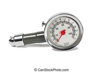 Pressure gauge - Car pressure gauge on white background