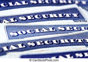 Social Security Cards Representing Finances and Retirement