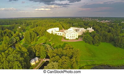 Flying over park and palace in Pavlovsk, St Petersburg,...
