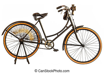 Vintage early twentieth century bicycle isolated on white -...