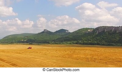 Grain Harvester Working In Goldin Field At Beautiful Hilly...