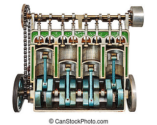 Vintage model of a classic car engine with focus on pistons...
