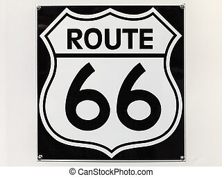 Vintage Route 66 sign on an off white background - Vintage...