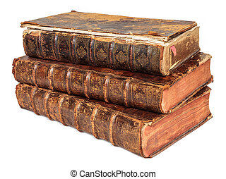 Three seventeenth century antique books isolated on white -...
