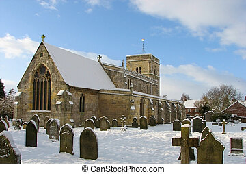 rural church - a rural church with churchyard in the snow...