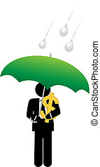 Business man dollar money safe under umbrella - An investor...