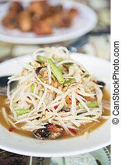 """""""Som Tum"""" spicy papaya salad Thai food, cuisine"""