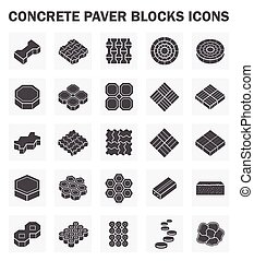 block icon - Concrete paver block icons sets.