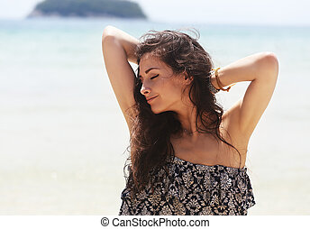 Happy enjoying beautiful closed eyes woman relaxing with...