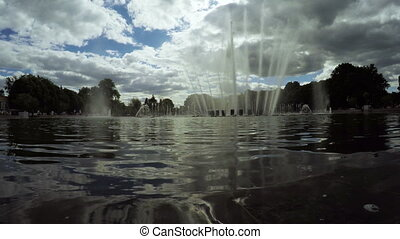 Fountains in city park - In city of Moscow Gorky Park...