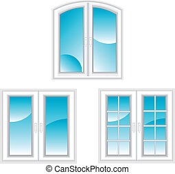 Plastic windows - Plastic polymer windows isolated on white...