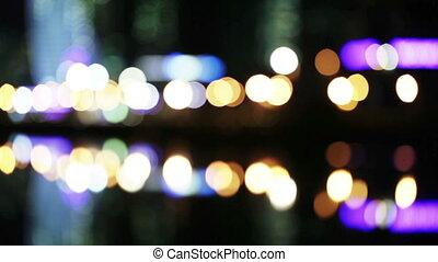 Bokeh night traffic reflection water - Reflection of night...