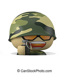 Mini soldier - 3D Cartoon character Soldier comes out from...