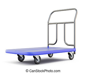 Baggage trolley isolated on white background 3d illustration...