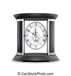 Table clock with visible mechanism