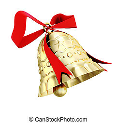 Gold bell isolated on white background. 3d render image.